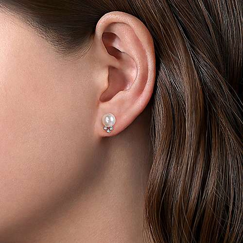14K White Gold Pearl Post Earrings With Diamond Accents