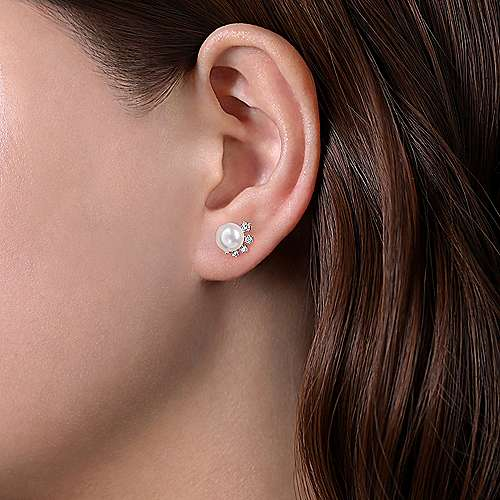 14K White Gold Pearl Stud Earrings with Diamond Accents