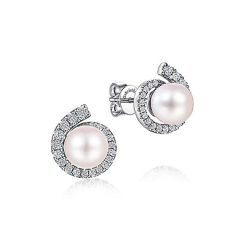 14K White Gold Pearl Stud Earrings with Diamond Halo