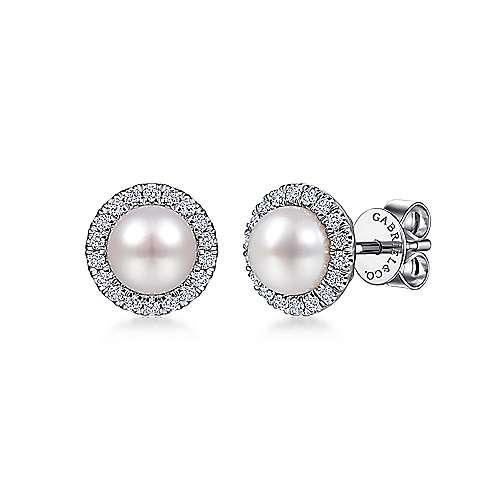 14K White Gold Pearl and Diamond Halo Stud Earrings