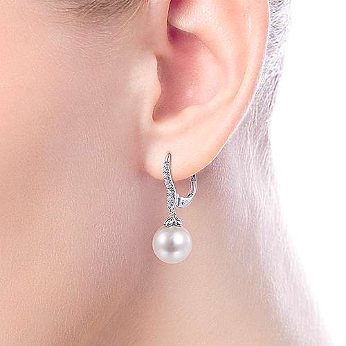 14K White Gold Pearl and Diamond Leverback Earrings