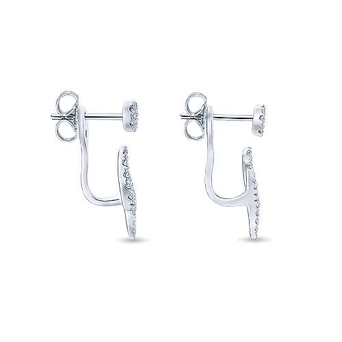 14K White Gold Peek A Boo Diamond Flourish Earrings