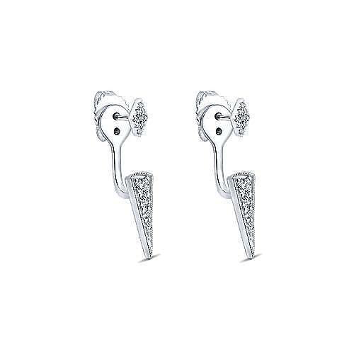 14K White Gold Peek A Boo Diamond Kite and Spike Earrings