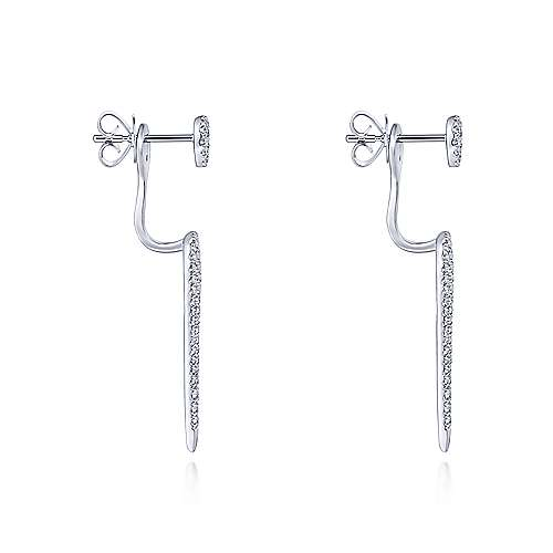 14K White Gold Peek A Boo Elongated Teardrop Diamond Earrings