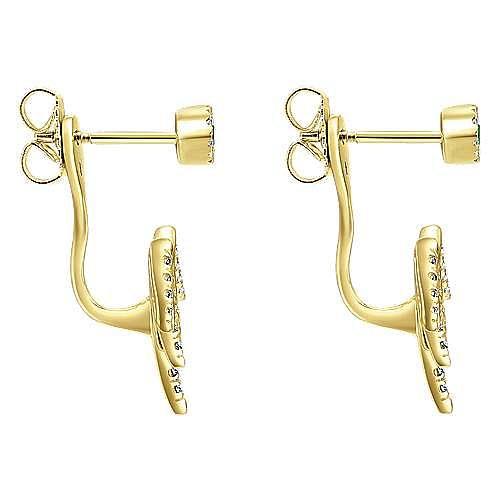 14K White Gold Peek A Boo Emerald Stud & Curving Diamond Fan Earrings