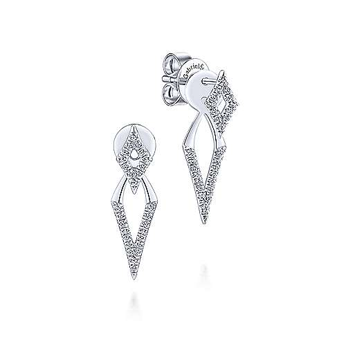 14K White Gold Peek A Boo Kite Diamond Earrings