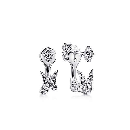 14K White Gold Peek A Boo Kite and Curved Diamond Bar Earrings
