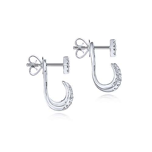 14K White Gold Peek A Boo Kite and Curved Diamond Bar Earrings