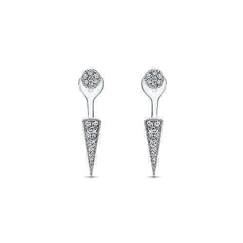 14K White Gold Peek A Boo Mini Diamond Spike Earrings