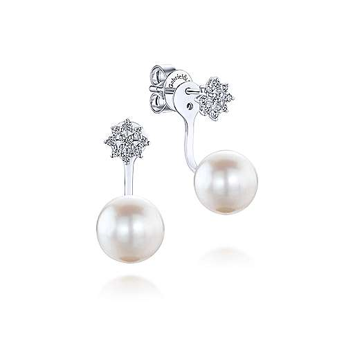 14K White Gold Peek A Boo Star-Studded Pearl Diamond Earrings