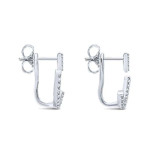 ac9070276 14K White Gold Peek A Boo Triangle and Curved Diamond Bar Earrings ...