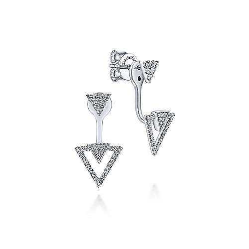 14K White Gold Peek A Boo Triple Diamond Triangle Earrings