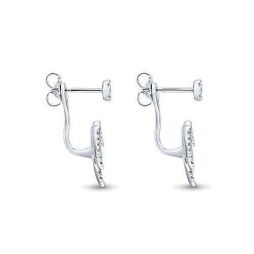 14K White Gold Peek a Boo Spikes Diamond Earrings