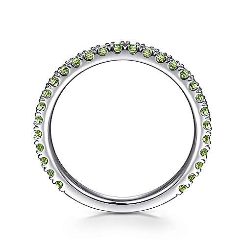14K White Gold Peridot Stackable Ring