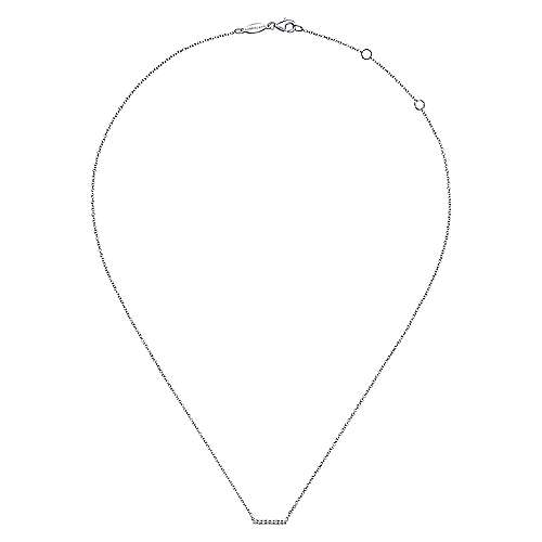 14K White Gold Petite Pavé Diamond Bar Necklace