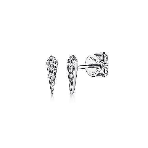 14K White Gold Pointed Diamond Bar Stud Earrings