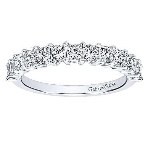 14K White Gold Princess Cut 13 Stone Prong Set Diamond Wedding Band