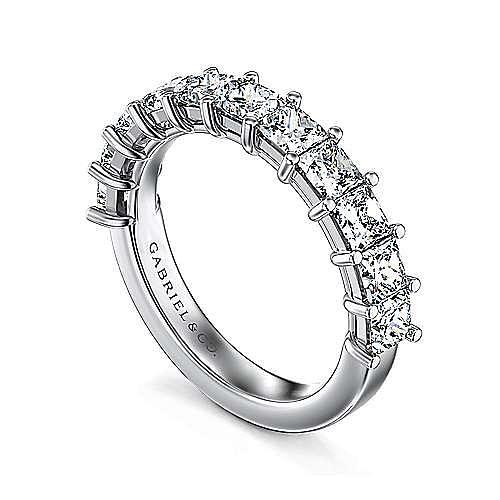 14K White Gold Princess Cut 13 Stone Shared Prong Diamond Anniversary Band