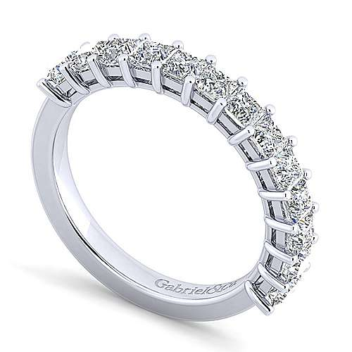 14K White Gold Princess Cut 13 Stone Shared Prong Diamond Anniversary Band