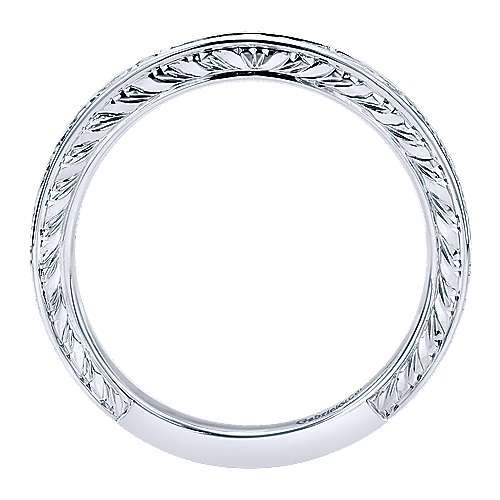 14K White Gold Princess Cut 5 Stone Channel Set Diamond Wedding Band with Engraving