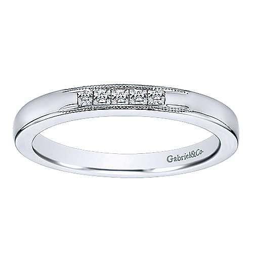 14K White Gold Princess Cut 5 Stone Channel Set Diamond Wedding Band