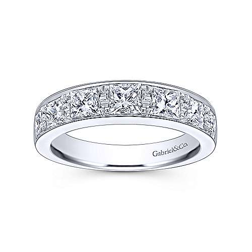 14K White Gold Princess Cut 7 Stone Prong Channel Set Diamond Wedding Band