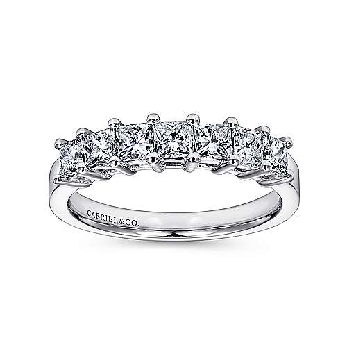 14K White Gold Princess Cut 7 Stone Prong Set Diamond Wedding Band