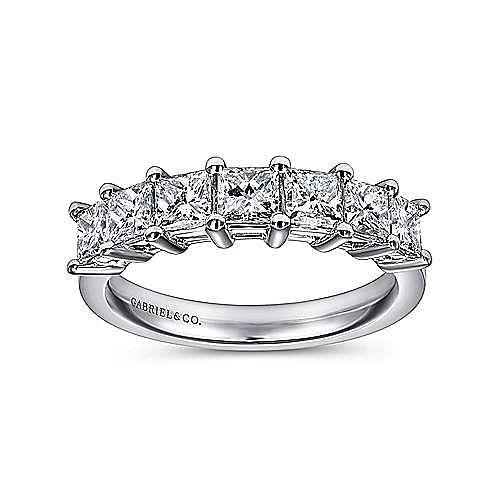 14K White Gold Princess Cut 7 Stone Prong Set Diamond Wedding Band
