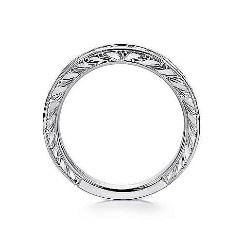 14K White Gold Princess Cut 9 Stone Channel Set Diamond Wedding Band with Engraving