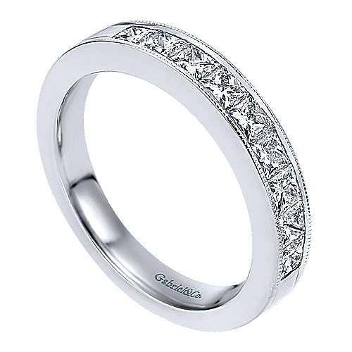 14K White Gold Princess Cut 9 Stone Channel Set Diamond Wedding Band