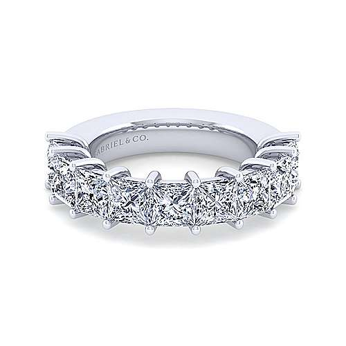14K White Gold Princess Cut 9 Stone Shared Prong Diamond Anniversary Band