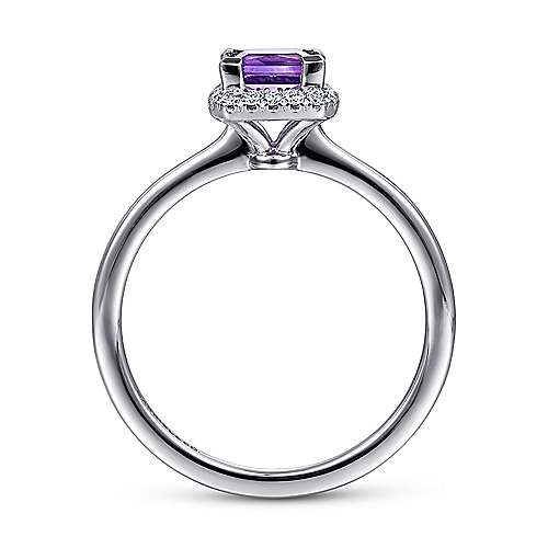 14K White Gold Princess Cut Amethyst and Diamond Halo Ring