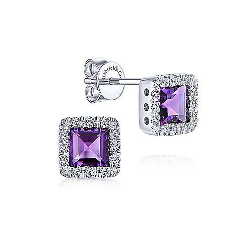 14K White Gold Princess Cut Amethyst and Diamond Halo Stud Earrings