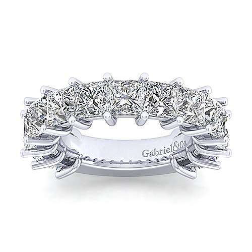 14K White Gold Princess Cut Diamond Anniversary Band