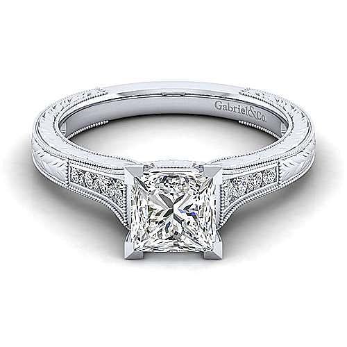 14k White Gold Princess Cut Diamond Engagement Ring Er10276s6w44jj Gabriel Co
