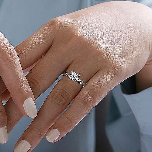 14k White Gold Princess Cut Diamond Engagement Ring Er11827s4w44jj Gabriel Co