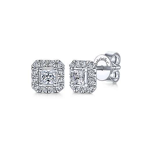 14K White Gold Princess Cut Diamond Halo Stud Earrings