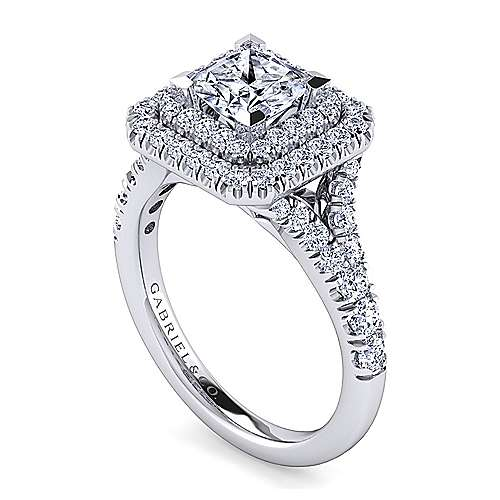 14K White Gold Princess Cut Double Halo Diamond Engagement Ring