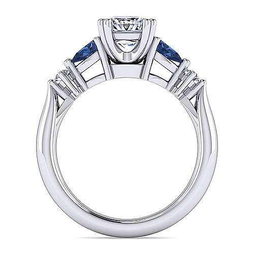 14K White Gold Princess Cut Five Stone Sapphire and Diamond Engagement Ring