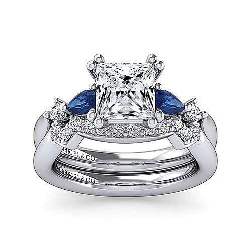 14K White Gold Princess Cut Five Stone Sapphire and Diamond Engagement Ring