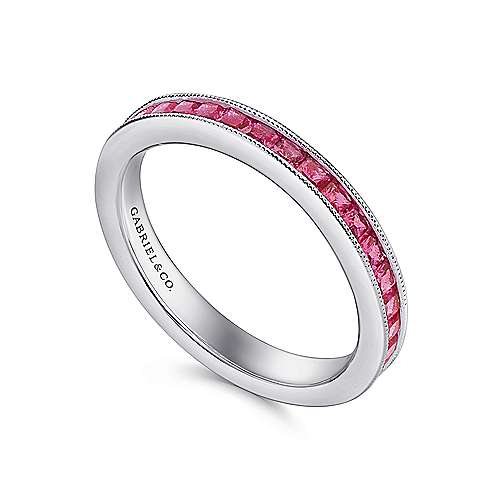 14K White Gold Princess Cut Ruby Stackable Band
