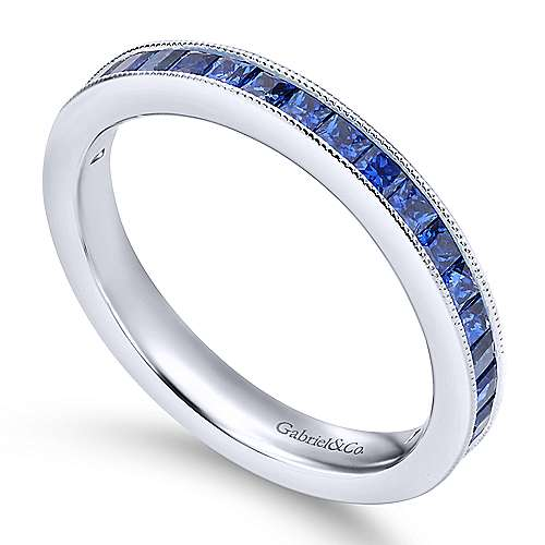 14K White Gold Princess Cut Sapphire Stackable Band