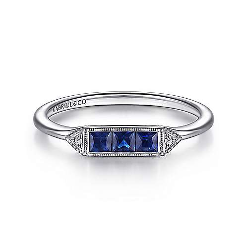14K White Gold Princess Cut Sapphire Trio and Diamond Ring