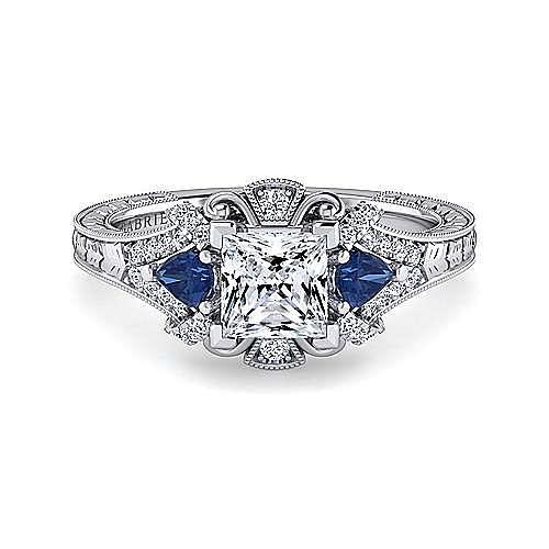 9a5b3b8f2e3807 14K White Gold Princess Cut Sapphire and Diamond Engagement Ring ...