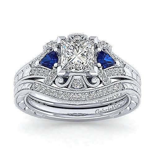14K White Gold Princess Cut Sapphire and Diamond Engagement Ring