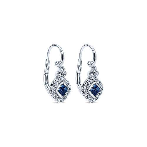 14K White Gold Princess Cut Sapphire and Diamond Halo Leverback Earrings