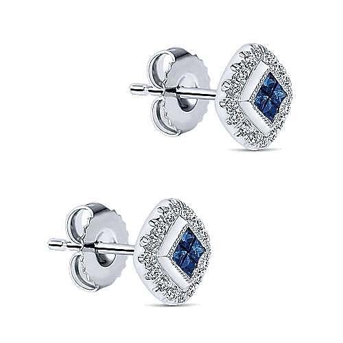 14K White Gold Princess Cut Sapphire and Diamond Halo Stud Earrings
