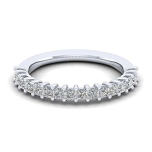 14K White Gold Princess Cut Shared Prong Diamond Anniversary Band