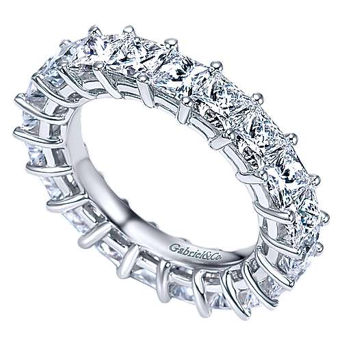 14K White Gold Princess Cut Shared Prong Diamond Eternity Band