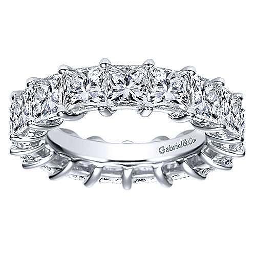 14K White Gold Princess Cut Shared Prong Diamond Eternity Band